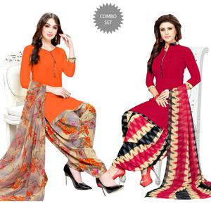 Hypnotic Casual Wear Printed Crepe Dress Material - Pack of 2