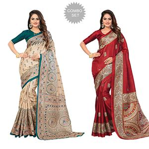 Beige - Red Casual Printed Bhagalpuri Silk Saree (Pack of 2)