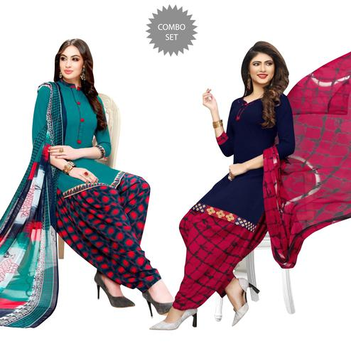Ethnic Casual Wear Printed Crepe Dress Material - Pack of 2
