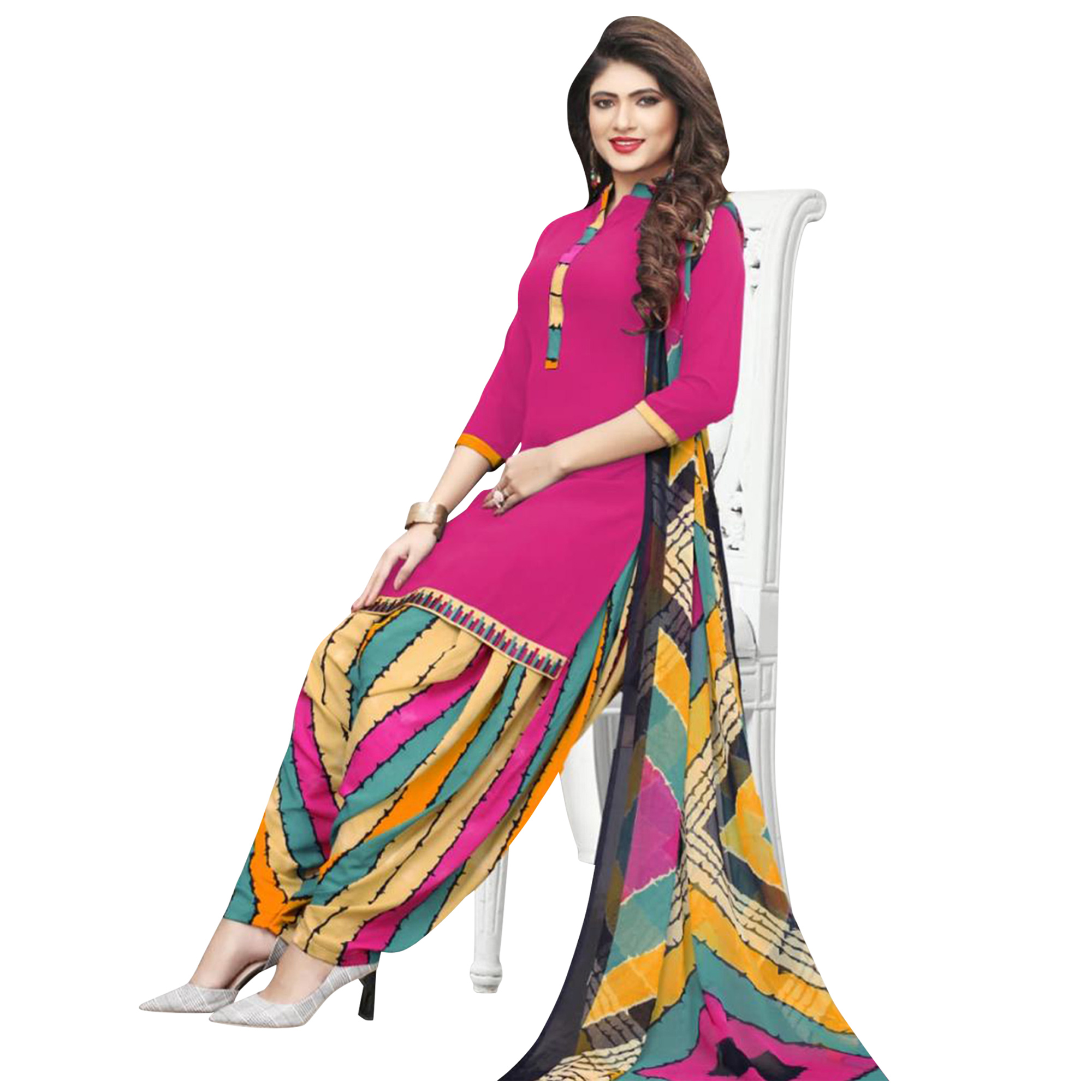 Preferable Casual Wear Printed Crepe Dress Material - Pack of 3