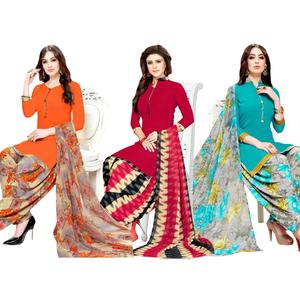 Pretty Casual Wear Printed Crepe Dress Material - Pack of 3