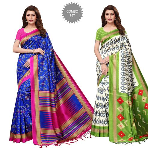 Delightful Festive Wear Printed Mysore Silk Saree - Pack of 2