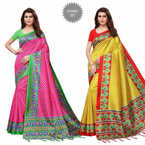 Amazing Festive Wear Printed Mysore Silk Saree - Pack of 2