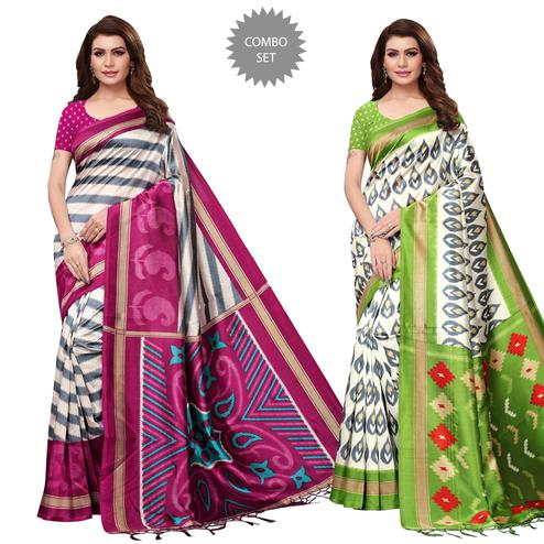 Engrossing Festive Wear Printed Mysore Silk Saree - Pack of 2