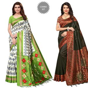 Energetic Festive Wear Printed Mysore Silk Saree - Pack of 2
