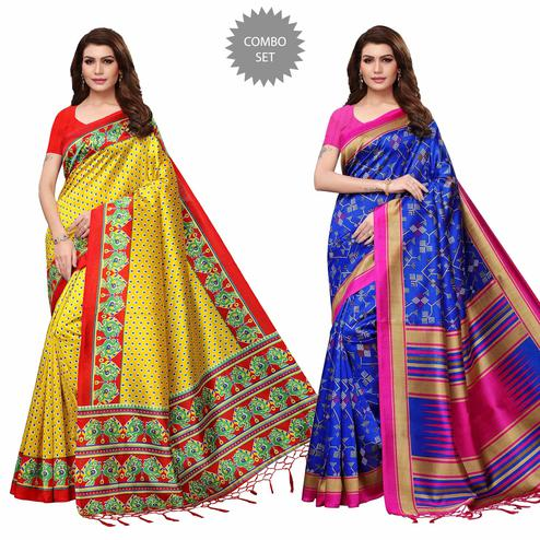 Gleaming Festive Wear Printed Mysore Silk Saree - Pack of 2