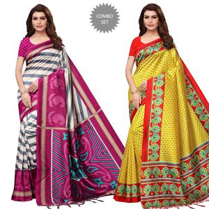 Mesmeric Festive Wear Printed Mysore Silk Saree - Pack of 2