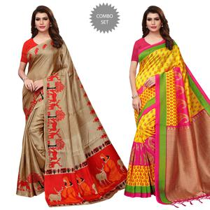 Unique Printed Khadi Silk-Mysore Silk Saree - Pack of 2