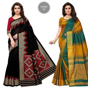 Elegant Casual Printed Art Silk-Cotton Silk Saree - Pack of 2