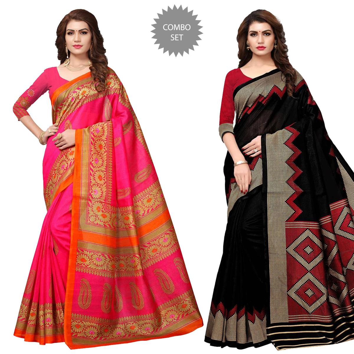 Majesty Casual Printed Bhagalpuri Silk-Art Silk Saree - Pack of 2