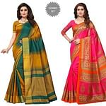 Marvellous Casual Printed Cotton Silk-Bhagalpuri Silk Saree - Pack of 2