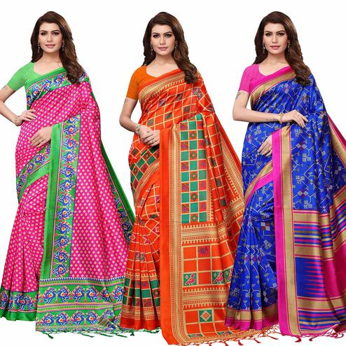 Sophisticated Festive Wear Printed Mysore Silk Saree - Pack of 3