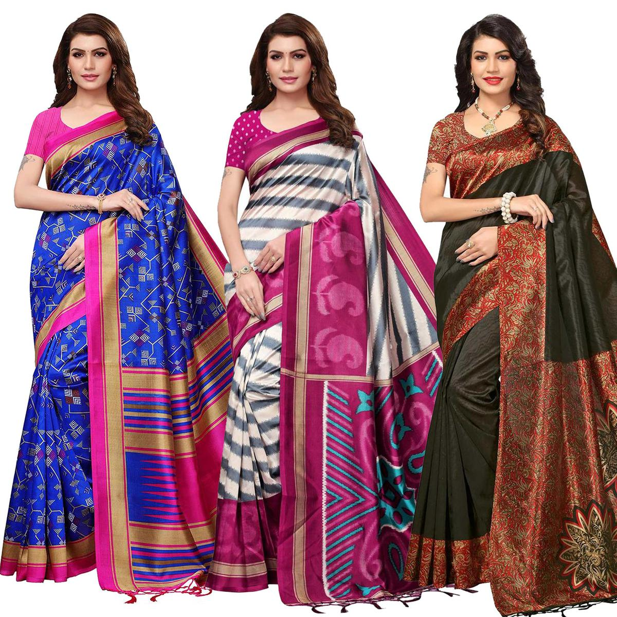Trendy Festive Wear Printed Mysore Silk Saree - Pack of 3
