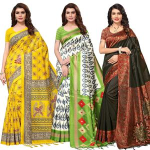 Flattering Festive Wear Printed Mysore Silk Saree - Pack of 3
