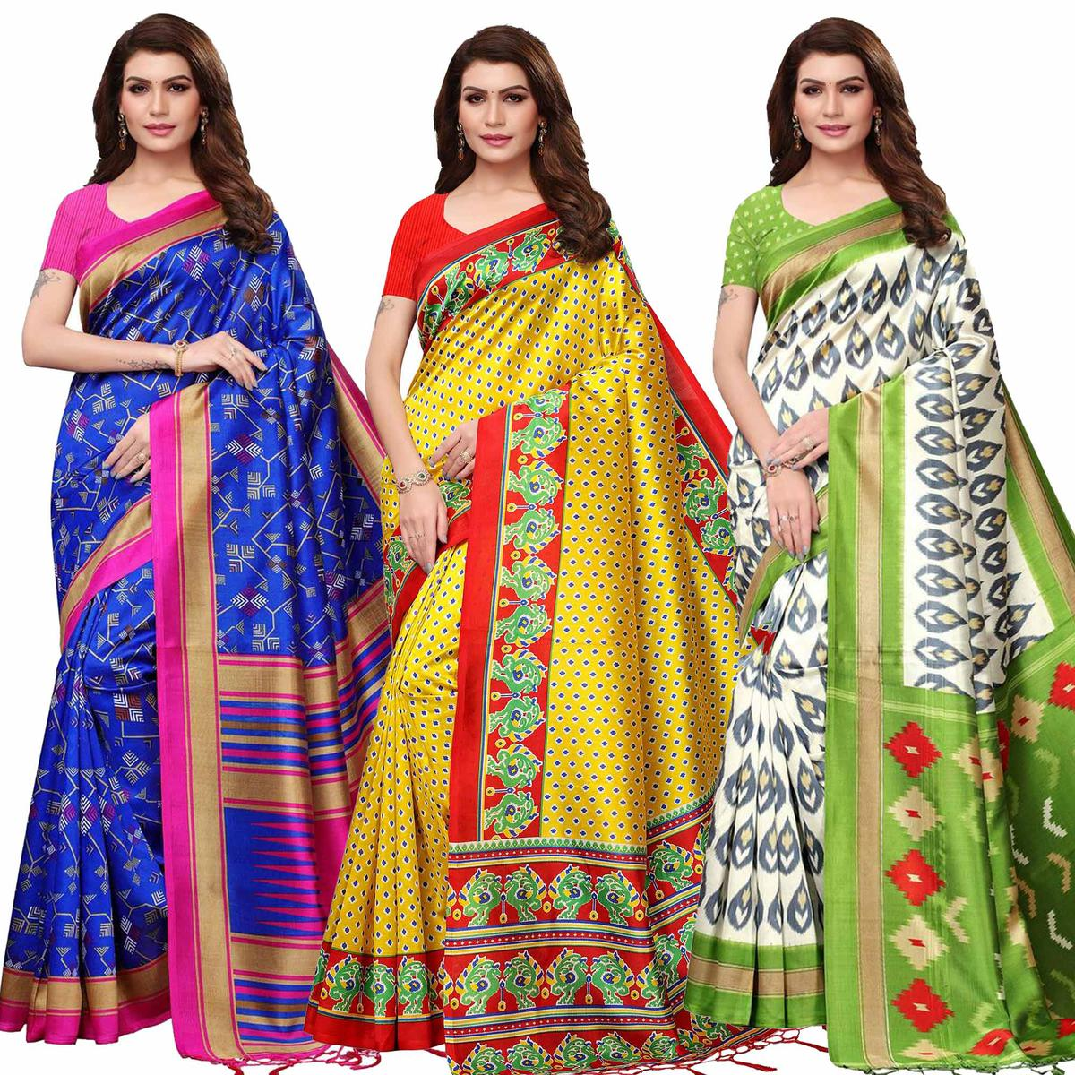 Radiant Festive Wear Printed Mysore Silk Saree - Pack of 3