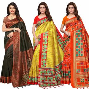 Pleasant Festive Wear Printed Mysore Silk Saree - Pack of 3