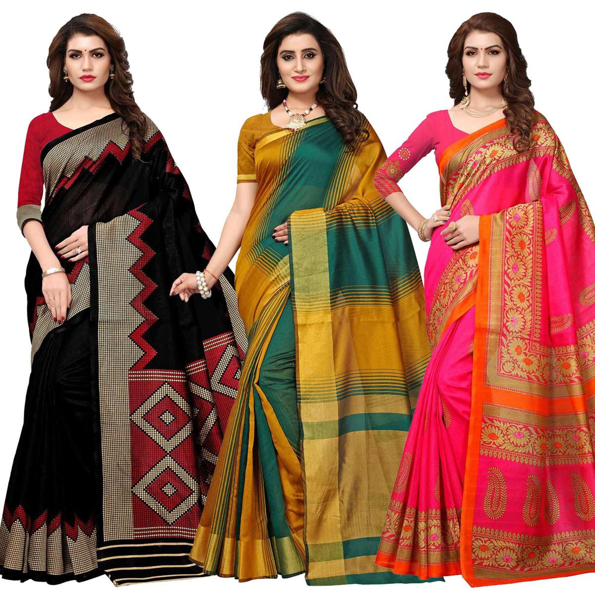Appealing Casual Printed Silk Saree - Pack of 3