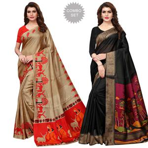 Intricate Casual Wear Printed Khadi Silk-Art Silk Saree - Pack of 2