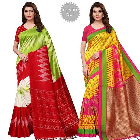 Blissful Festive Wear Printed Mysore Silk Saree - Pack of 2