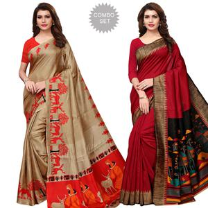 Flattering Casual Wear Printed Khadi Silk-Art Silk Saree - Pack of 2