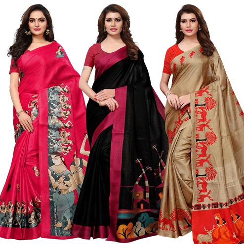 Radiant Casual Wear Printed Khadi Silk Saree - Pack of 3