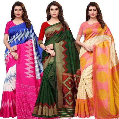 Pleasant Printed Mysore Silk-Art Silk Saree - Pack of 3