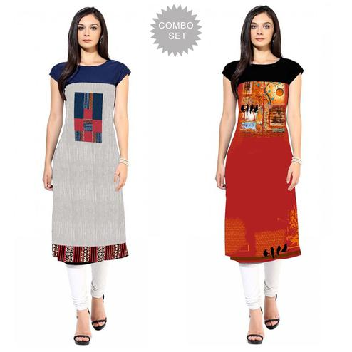 Desirable Casual Printed Crepe Kurti - Pack of 2