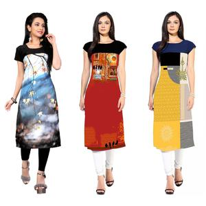 Alluring Casual Printed Crepe Kurtis - Pack Of 3