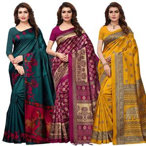 Adorable Casual Printed Art Silk Saree - Pack of 3