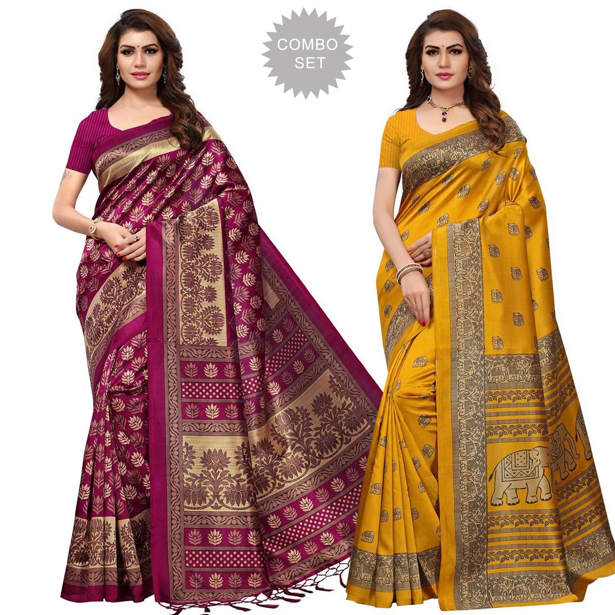 Opulent Casual Printed Art Silk Saree - Pack of 2