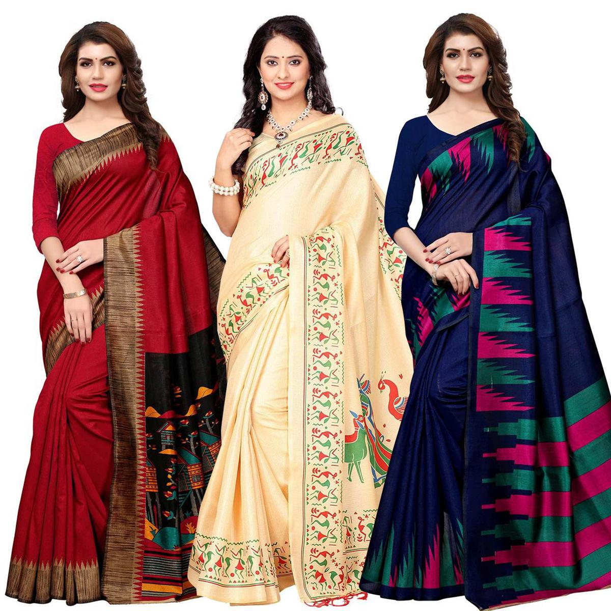 Eye-Catching Casual Printed Art Silk-Khadi Silk Saree - Pack of 3