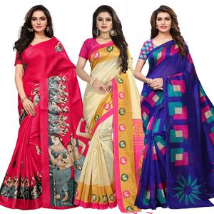 Admiring Casual Printed Saree - Pack of 3