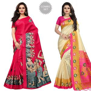 Sophisticated Casual Printed Khadi Silk-Mysore Silk Saree - Pack of 2