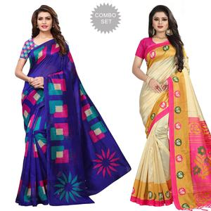Blissful Casual Printed Mysore Silk-Bhagalpuri Silk Saree - Pack of 2