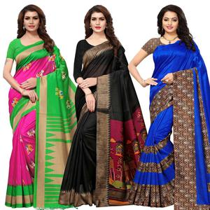 Appealing Casual Printed Art Silk Saree - Pack of 3
