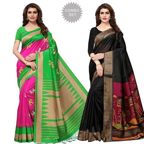 Blooming Casual Printed Art Silk Saree - Pack of 2