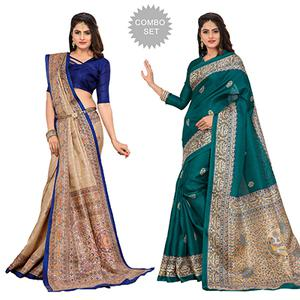 Beige - Blue Casual Printed Bhagalpuri Silk Saree (Pack of 2)