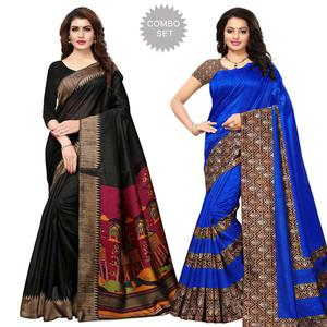 Gleaming Casual Printed Art Silk Saree - Pack of 2