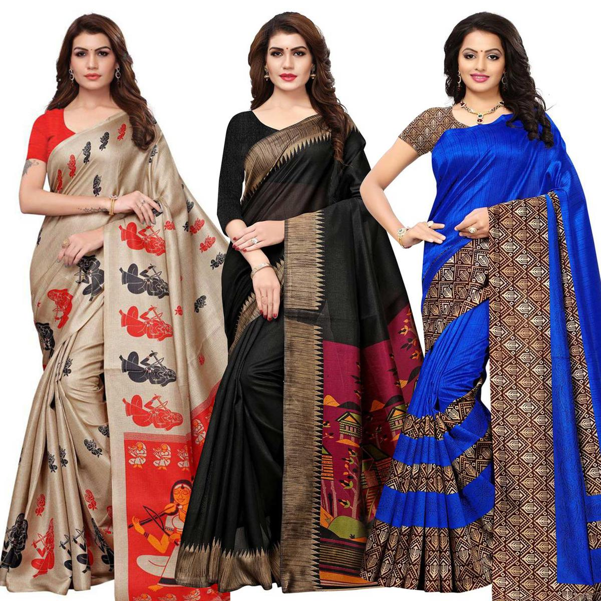 Impressive Casual Printed Saree - Pack of 3
