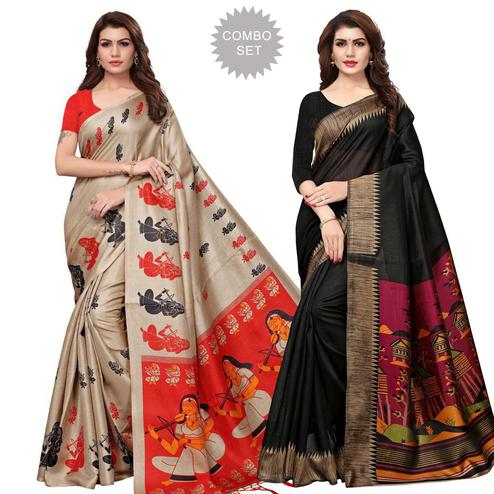 Classy Casual Printed Khadi Silk-Art Silk Saree - Pack of 2