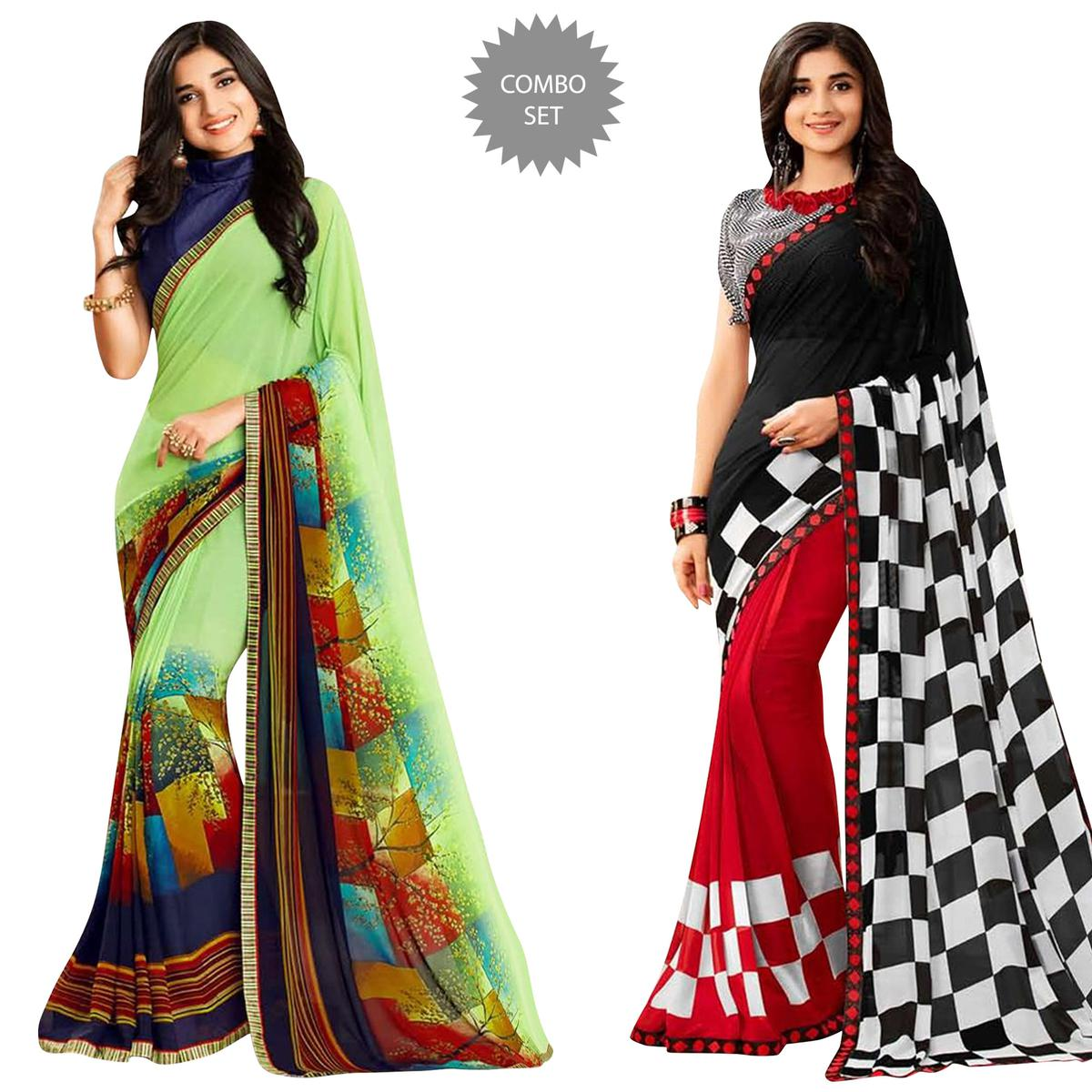 Classy Casual Printed Georgette Saree - Pack of 2