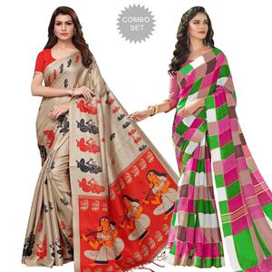 Attractive Printed Khadi Silk-Bhagalpuri Silk Saree - Pack of 2
