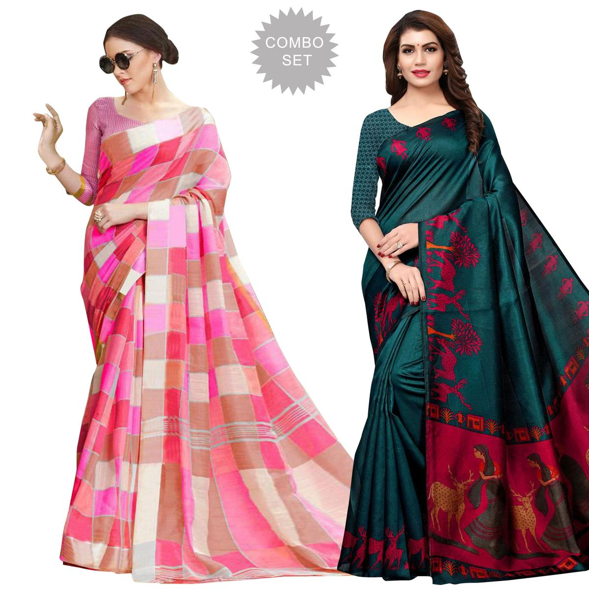 Beautiful Casual Printed Bhagalpuri Silk-Art Silk Saree - Pack of 2