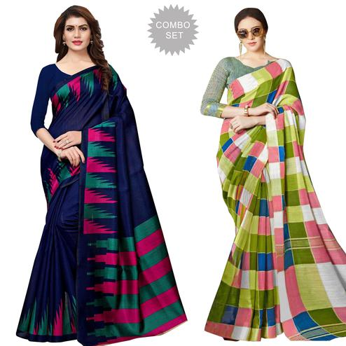 Fantastic Casual Printed Art Silk-Bhagalpuri Silk Saree - Pack of 2