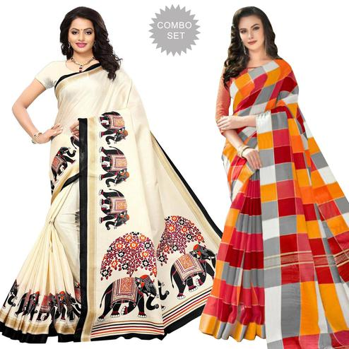 Amazing Printed Khadi Silk-Bhagalpuri Silk Saree - Pack of 2