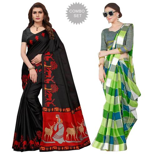 Demanding Printed Khadi Silk-Bhagalpuri Silk Saree - Pack of 2