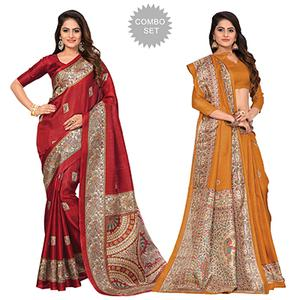 Red - Yellow Casual Printed Bhagalpuri Silk Saree (Pack of 2)