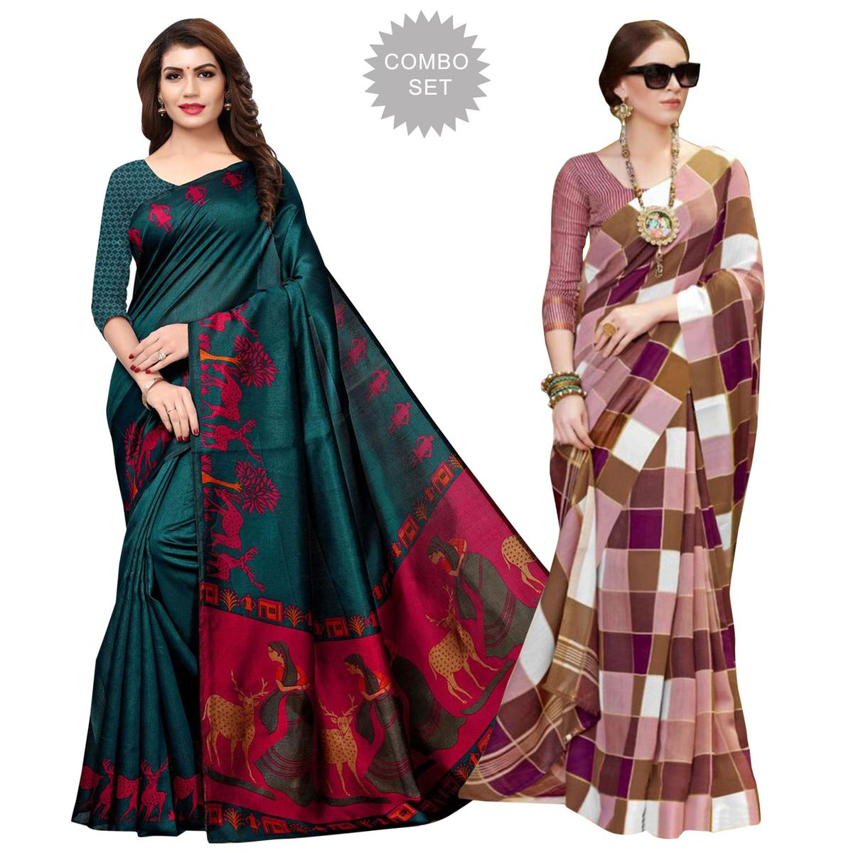 Eye-Catching Casual Printed Art Silk-Bhagalpuri Silk Saree - Pack of 2