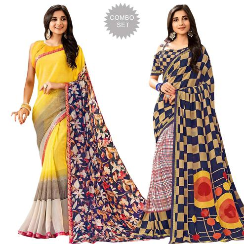 Pleasant Casual Printed Georgette Saree - Pack of 2