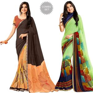Opulent Casual Printed Georgette Saree - Pack of 2